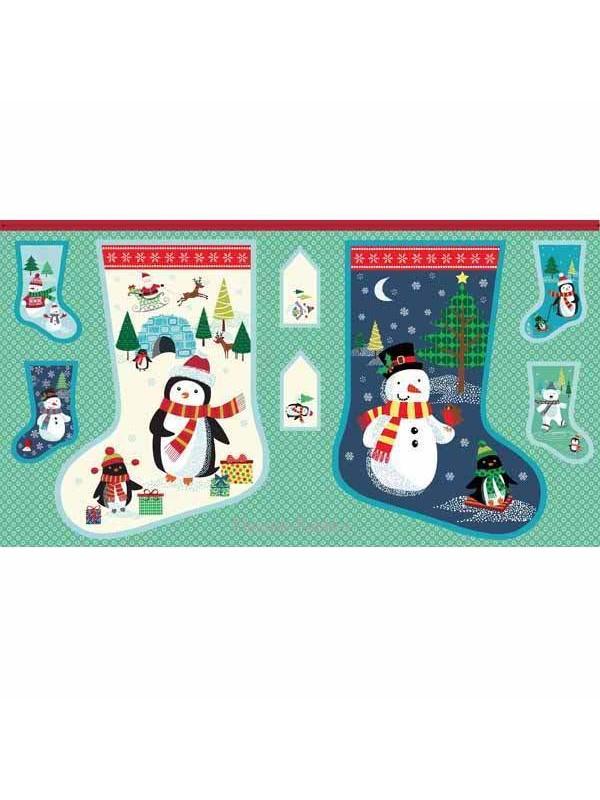 FROSTY CHRISTMAS STOCKING PANEL