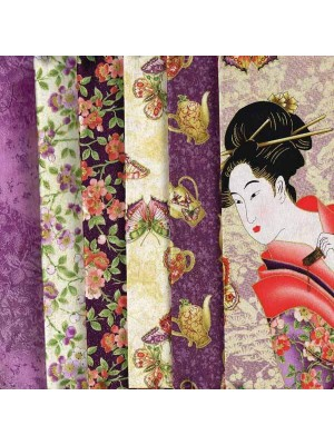 TEA HOUSE - 5 FAT QUARTERS + GEISHA PANEL - PLUM