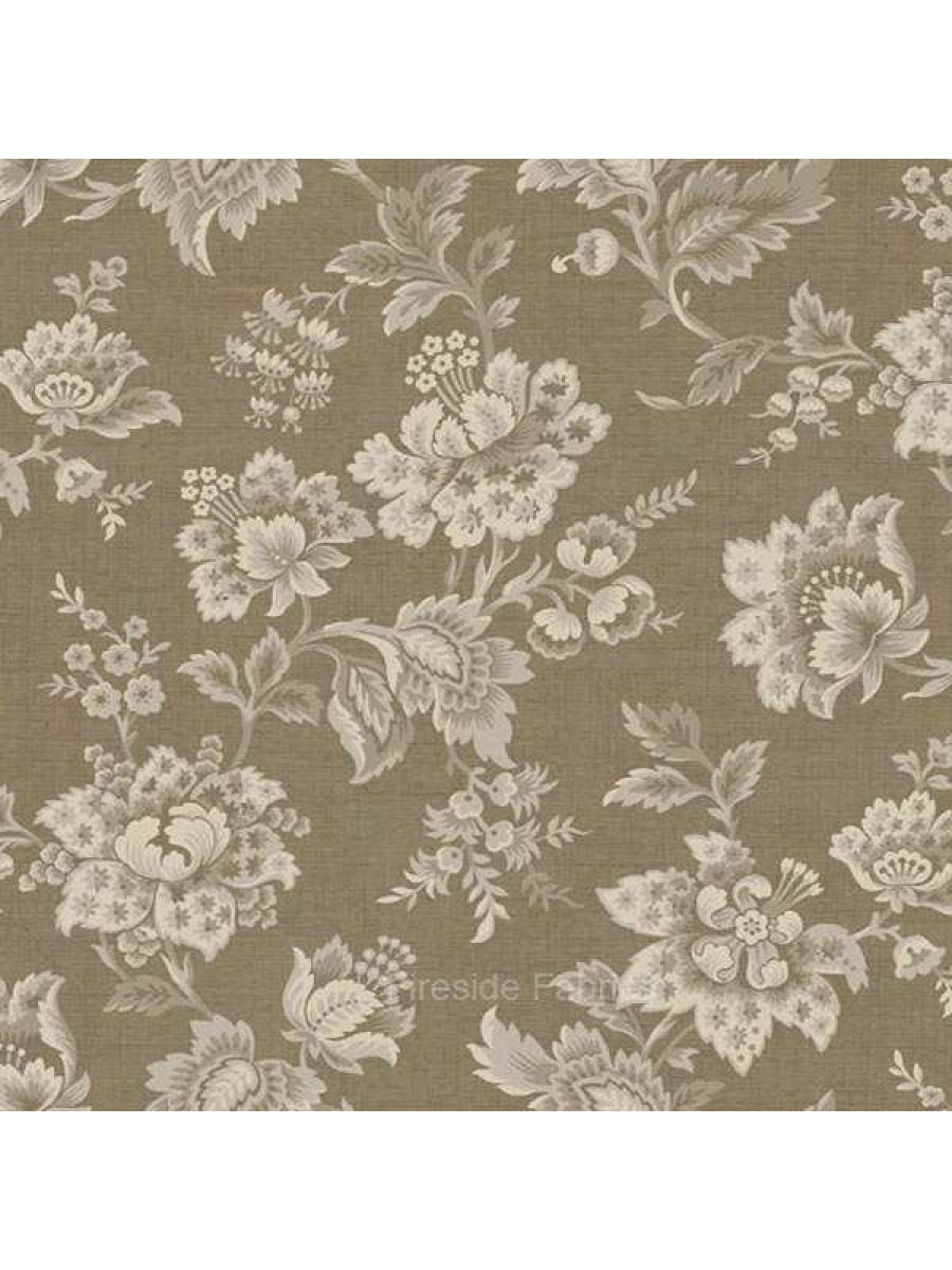Vintage Floral Taupe Fireside Fabrics Quilting