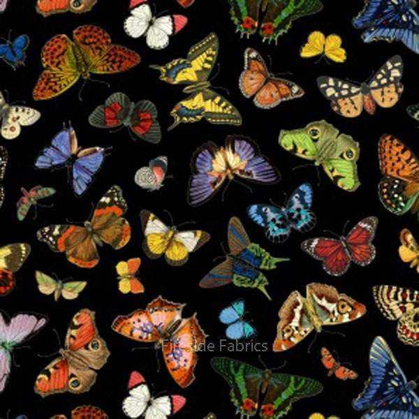Elizabeth Studio Fabric Butterfly Garden Black HALF METRE