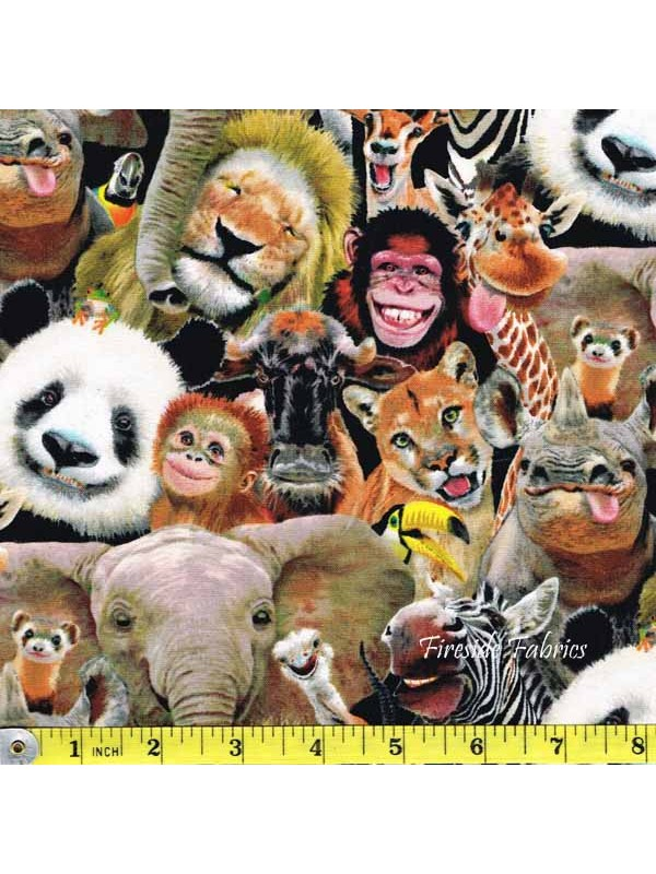 Zoo Selfies Crowd Fireside Fabrics Quilting Fabric And