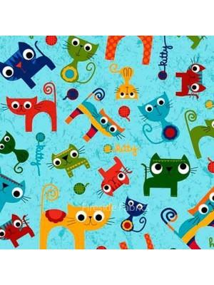 PAWSOME CATS - TOSSED CATS - AQUA BLUE