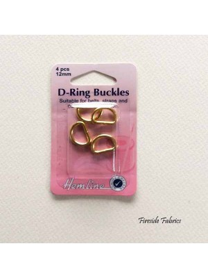 D-RING BUCKLES 12mm 4pcs - GOLD