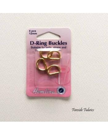 Hemline 4pcs D-Rings Gold 25mm
