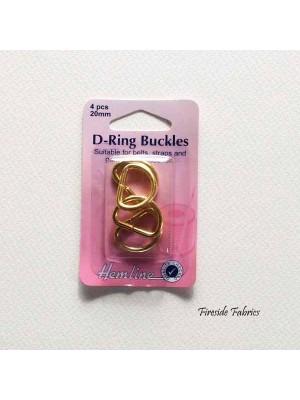 D-RING BUCKLES 20mm 4pcs - GOLD