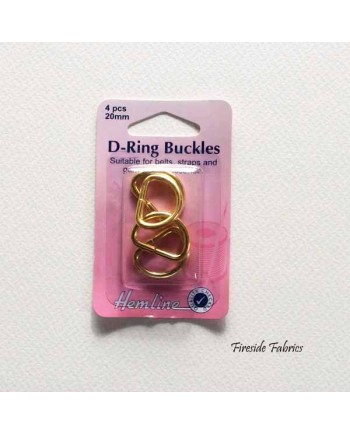 D-RING BUCKLES 20mm 4pcs - GOLD