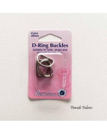 D-RING BUCKLES 20mm 4pcs - NICKEL