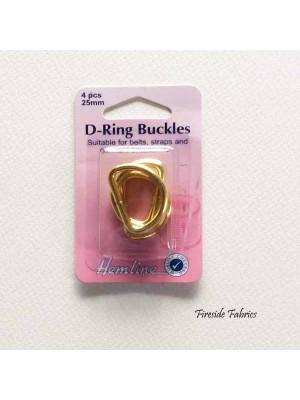 D-RING BUCKLES 25mm 4pcs - GOLD