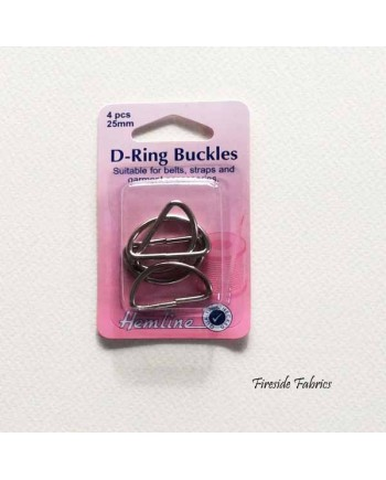 D-RING BUCKLES 25mm 4pcs - NICKEL