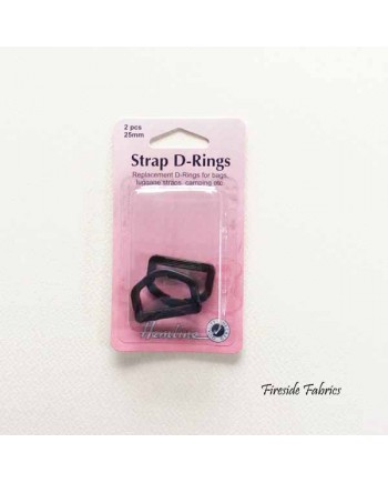 STRAP D-RINGS 25mm 2pcs - BLACK