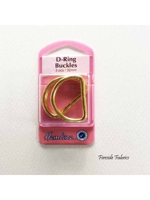 D-RING BUCKLES 32mm 3pcs - GOLD