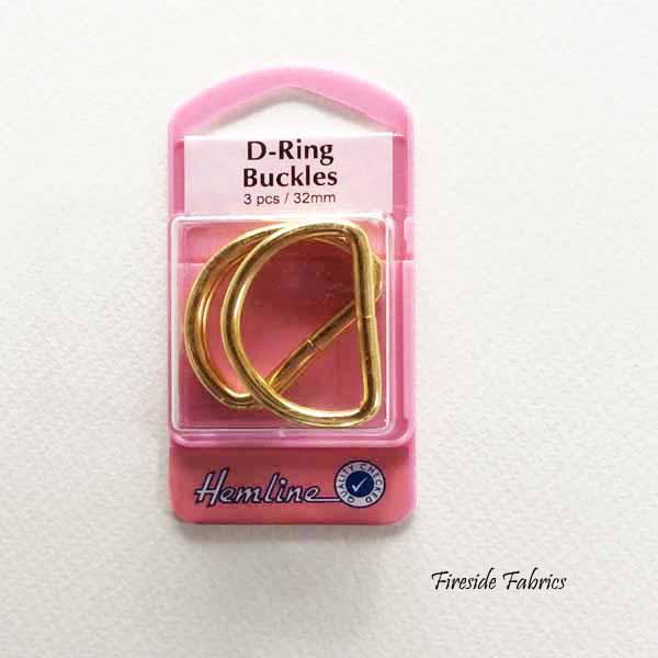 D-RING BUCKLES 32mm 3pcs - GOLD