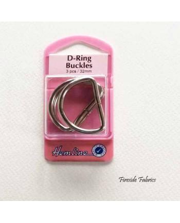 D-RING BUCKLES 32mm 3pcs - NICKEL