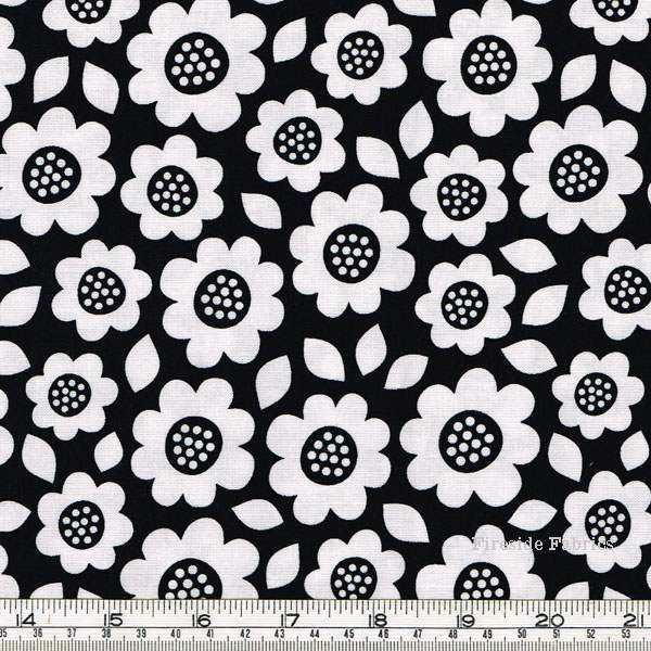 DOT AND DASH - LG FLOWERS - BLACK