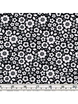 DOT AND DASH - FLOWERS - ALLOVER - BLACK