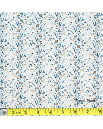 BLUE SKY -  FLOWER STRIPE - BLUE/CREAM