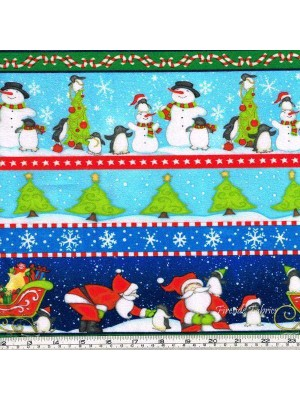 NORTH POLE GREETINGS - STRIPE - BRUSHED COTTON/FLANNEL