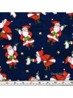 NORTH POLE GREETINGS - SANTA - DK BLUE - BRUSHED COTTON/FLANNEL