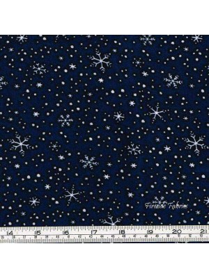 NORTH POLE GREETINGS - STARS - DK BLUE - BRUSHED COTTON/FLANNEL