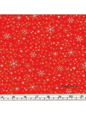 NORTH POLE GREETINGS - STARS - RED - BRUSHED COTTON/FLANNEL