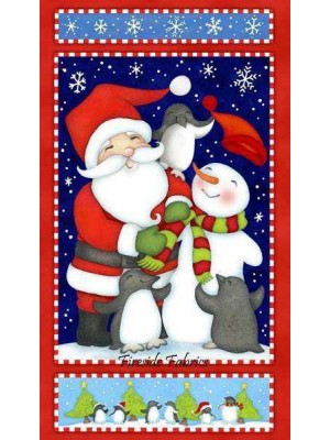 NORTH POLE GREETING PANEL - BRUSHED COTTON/FLANNEL