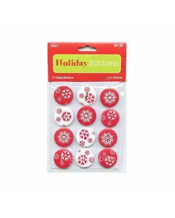 CHRISTMAS WOODEN BUTTONS - SNOWFLAKES