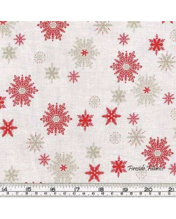 SCANDI 3 - SNOWFLAKES - RED/HESSIAN