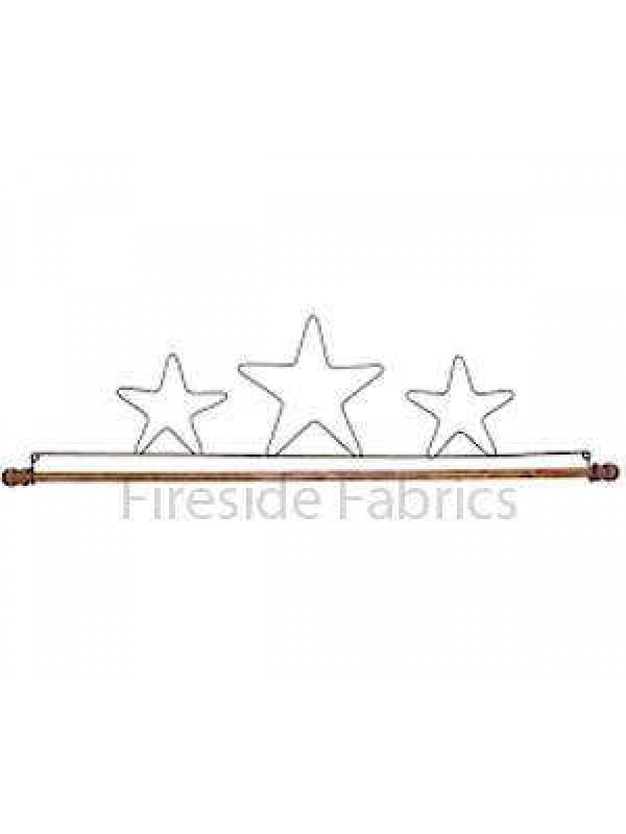 """3 STAR WIRE QUILT HANGER WITH DOWEL 16"""" (41cm)"""
