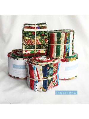"FABRIC ROLL - CHRISTMAS 2.5"" - 20 STRIPS"