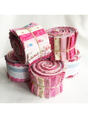 "FABRIC ROLL - PINKS 2.5"" - 20 STRIPS"