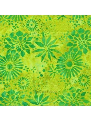 ISLAND BATIKI - FLOWERS - GREEN