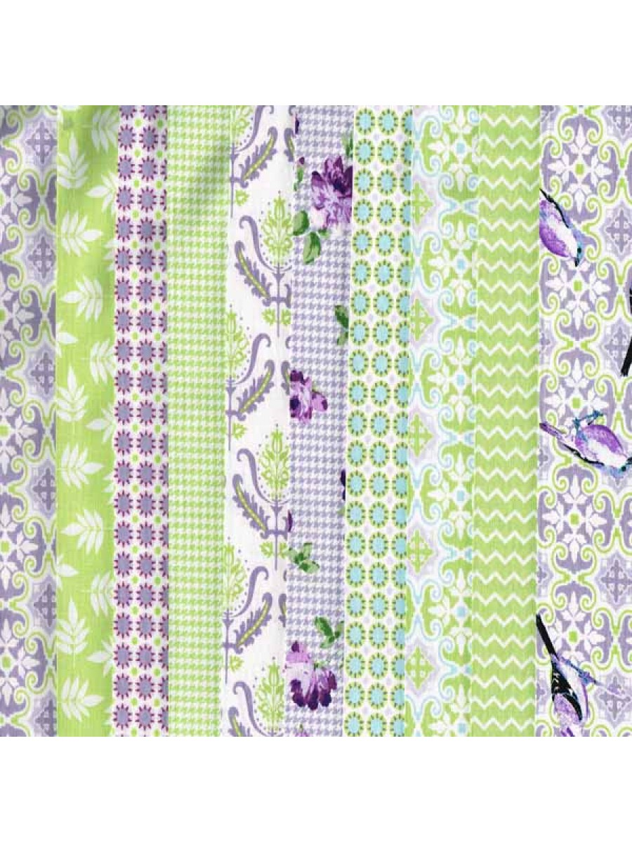 NOTTING HILL - 10 FAT QUARTER PACK - GREEN/PURPLE