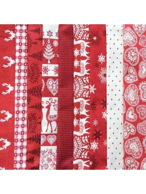 SCANDI 3 - 9 FAT QUARTER PACK - RED