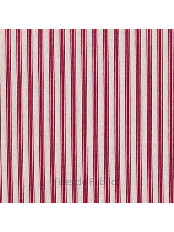 Ticking Stripe Red Fireside Fabrics Quilting Fabric